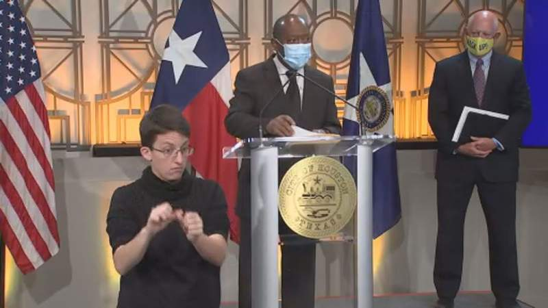 Mayor Sylvester Turner gives an update on COVID-19 cases in Houston on Aug. 31, 2020.