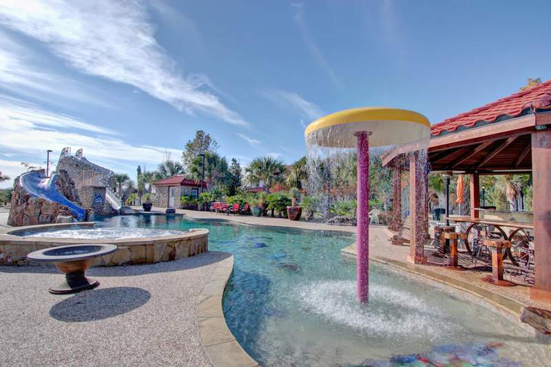Airbnb with a water park-like pool