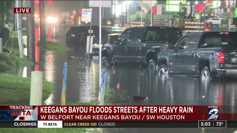 Keegans Bayou floods streets after heavy rain
