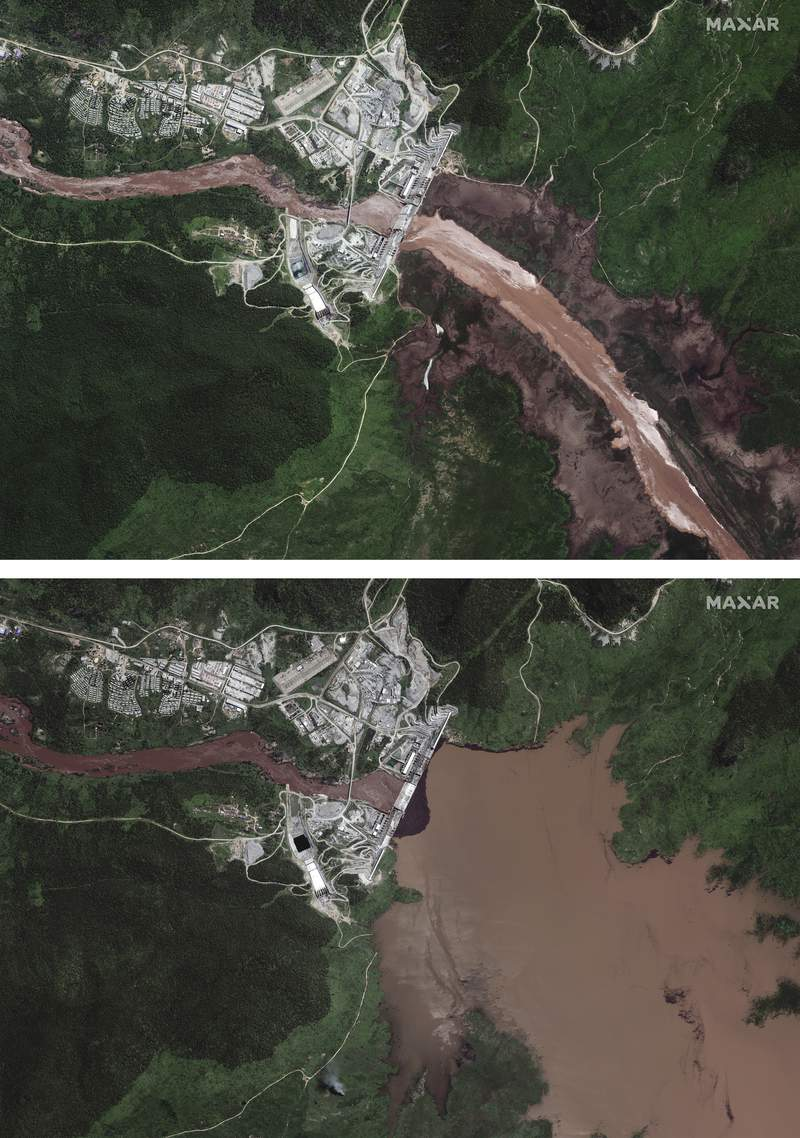 This combination image made from satellite images taken on Friday, June 26, 2020, above, and Sunday, July 12, 2020, below, shows the Grand Ethiopian Renaissance Dam on the Blue Nile river in the Benishangul-Gumuz region of Ethiopia. New satellite imagery shows the reservoir behind Ethiopia's disputed hydroelectric dam beginning to fill, but an analyst says it's likely due to seasonal rains instead of government action. (Maxar Technologies via AP)