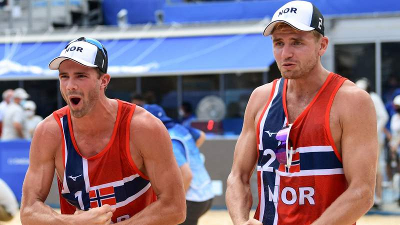 Norway's Anders Mol and Christian Sorum celebrate a quarterfinal win earlier in the Tokyo Olympics.