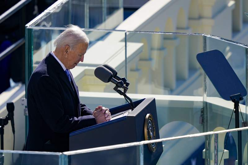 President Joe Biden delivers his inaugural address on the West Front of the U.S. Capitol on Jan. 20, 2021 in Washington, DC.