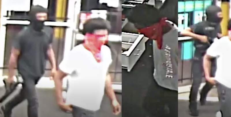Police are searching for two suspects caught on camera robbing a retail store Monday in northeast Houston, according to the Houston Police Department.