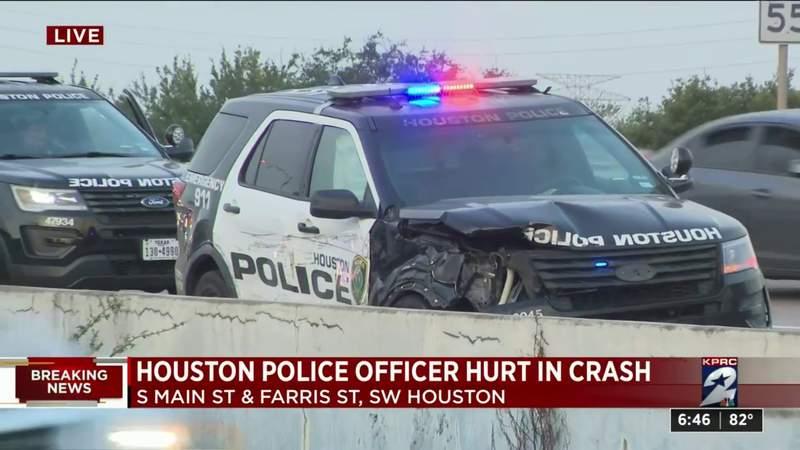 Houston police officer injured in crash in SW Houston