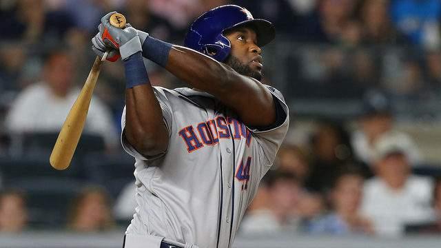 Yordan Alvarez hits a three-run home run against the New York Yankees during the seventh inning of a baseball game at Yankee Stadium on June 22, 2019, in the Bronx borough of New York City.