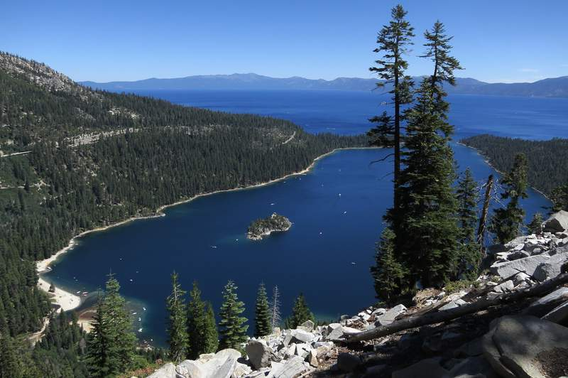 Emerald Bay lies under blue skies at Lake Tahoe.