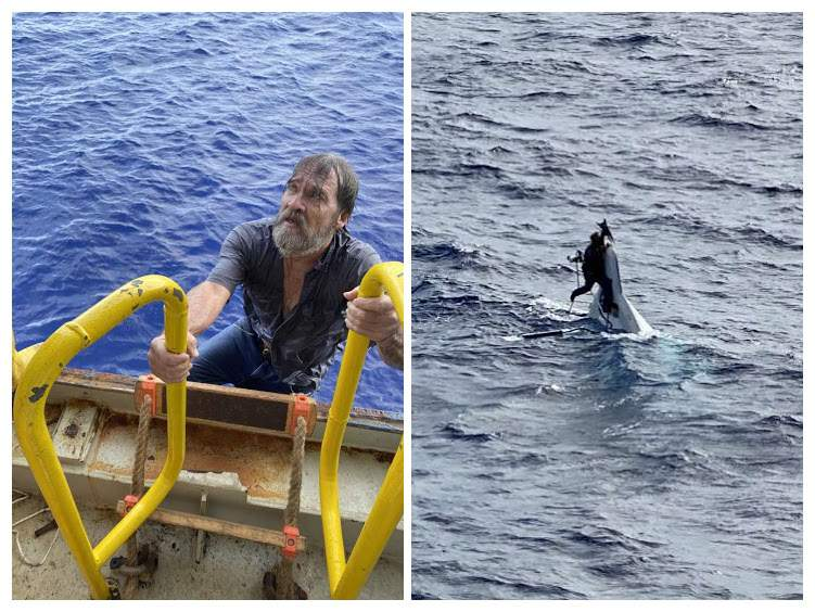 The U.S. Coast Guard found the 62-year-old boater Sunday clinging to his 32-foot capsized Sea Ray.