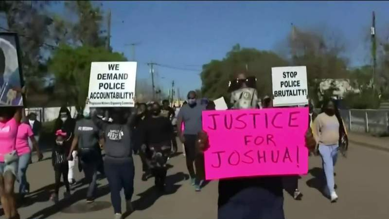 Family demands justice for Joshua Feast; Demonstrators march to La Marque Police Dept.