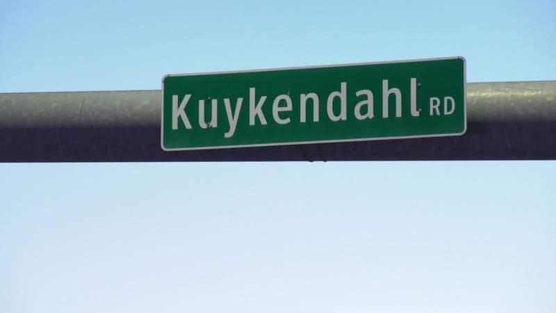 A sign indicated Kuykendahl Road in Houston in this undated file image.