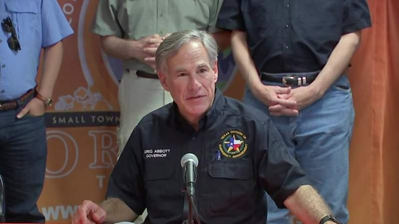 Texas Gov. Greg Abbott speaks about damage from Hurricane Laura during a news conference in Orange, Texas, on Aug. 27, 2020.