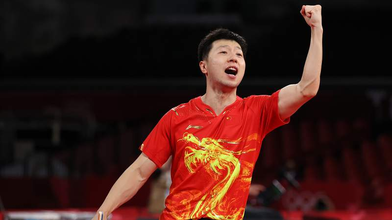 Ma Long of Team China celebrates winning his Men's Singles Semifinals match on day six of the Tokyo 2020 Olympic Games at Tokyo Metropolitan Gymnasium on July 29, 2021 in Tokyo, Japan.