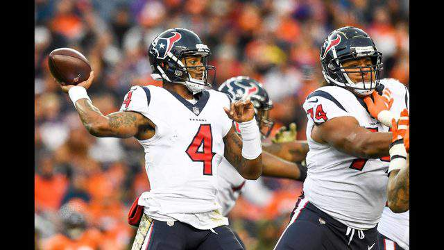 DENVER, CO - NOVEMBER 4:  Quarterback Deshaun Watson #4 of the Houston Texans passes against the Denver Broncos in the third quarter of a game at Broncos Stadium at Mile High on November 4, 2018 in Denver, Colorado. (Photo by Dustin Bradford/Getty Images)