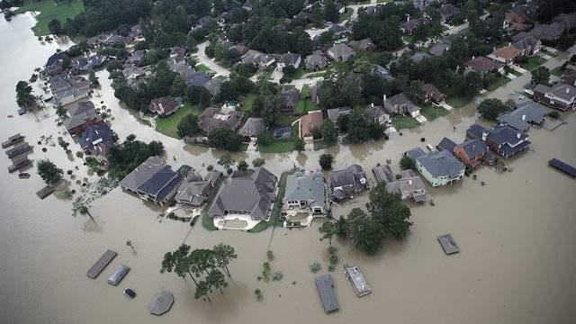 Flooded homes near Lake Houston after Hurricane Harvey on Aug. 30, 2017.