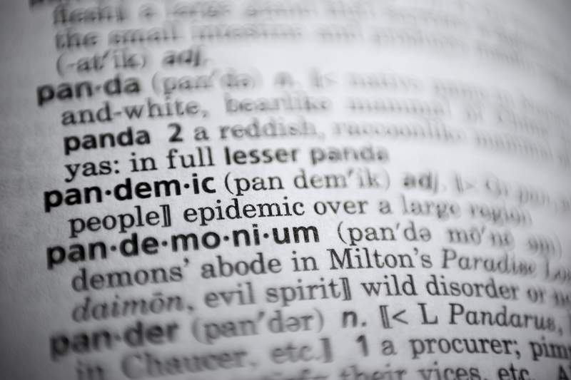 In this Saturday, Nov. 21, 2020, photo the word pandemic is displayed in a dictionary in Washington. Merriam-Webster on Monday announced pandemic as its 2020 word of the year. (AP Photo/Jenny Kane)