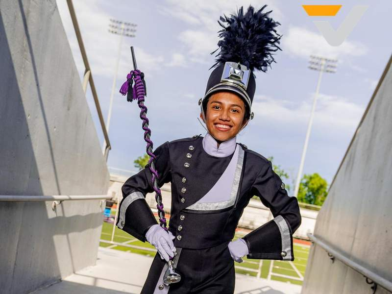 LOVE AT FIRST SOUND: Cortez has learned more than notes in becoming drum major