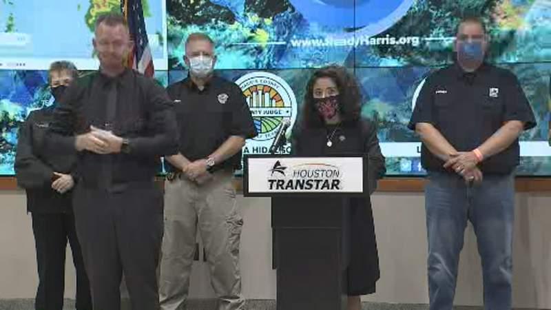 Judge Lina Hidalgo gives an update ahead of Tropical Storm Beta.