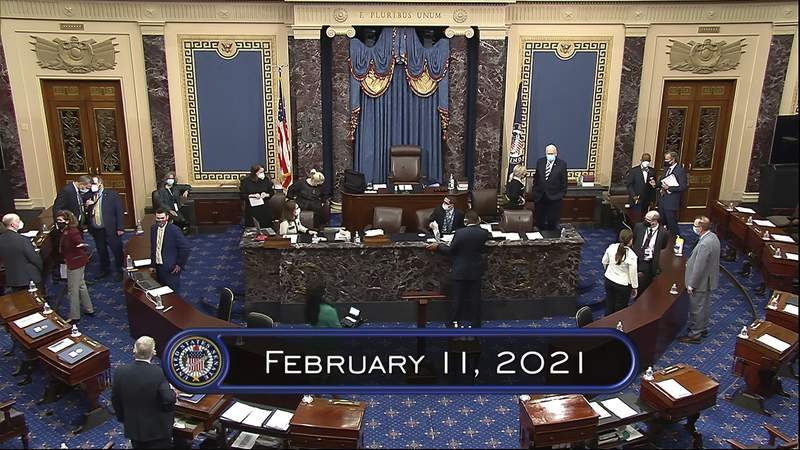 In this image from video, the Senate begins the third day in the second impeachment trial of former President Donald Trump in the Senate at the U.S. Capitol in Washington, Thursday, Feb. 11, 2021. (Senate Television via AP)