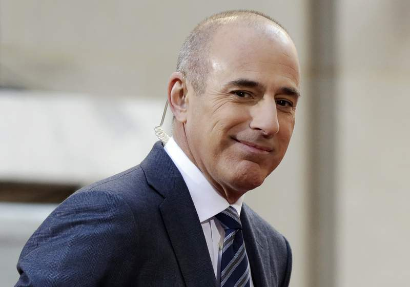 """FILE - In this April 21, 2016, file photo, Matt Lauer, co-host of the NBC """"Today"""" television program, appears on set in Rockefeller Plaza, in New York. Matt Lauer accused author Ronan Farrow on Tuesday, May 19, 2020 of shoddy and biased journalism in his book Catch and Kill that included what Lauer says is a false accusation that the former Today show host raped a co-worker. (AP Photo/Richard Drew, File)"""