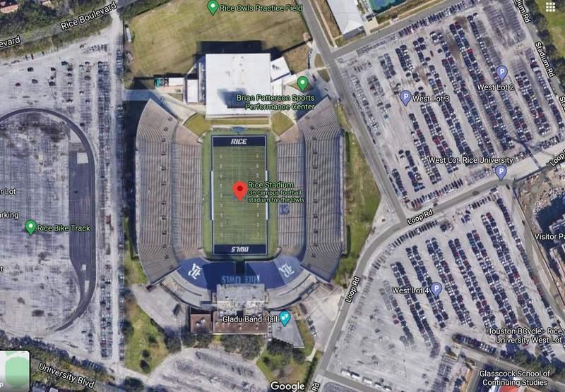 Rice University Stadium as seen from Google Maps