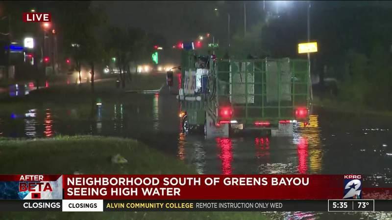 Neighborhood south of Greens Bayou seeing high water