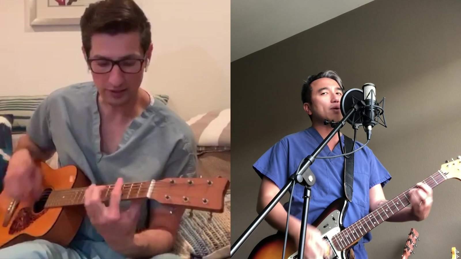 """Médico de UT Health, banda de cirujanos hacen una canción pidiendo a las personas que """"se queden en casa, ayuden al médico"""" 61"""