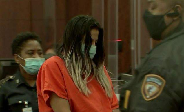 Theresa Balboa stood before a judge as the prosecutor laid out the capital murder charge against her on July 12, 2021.