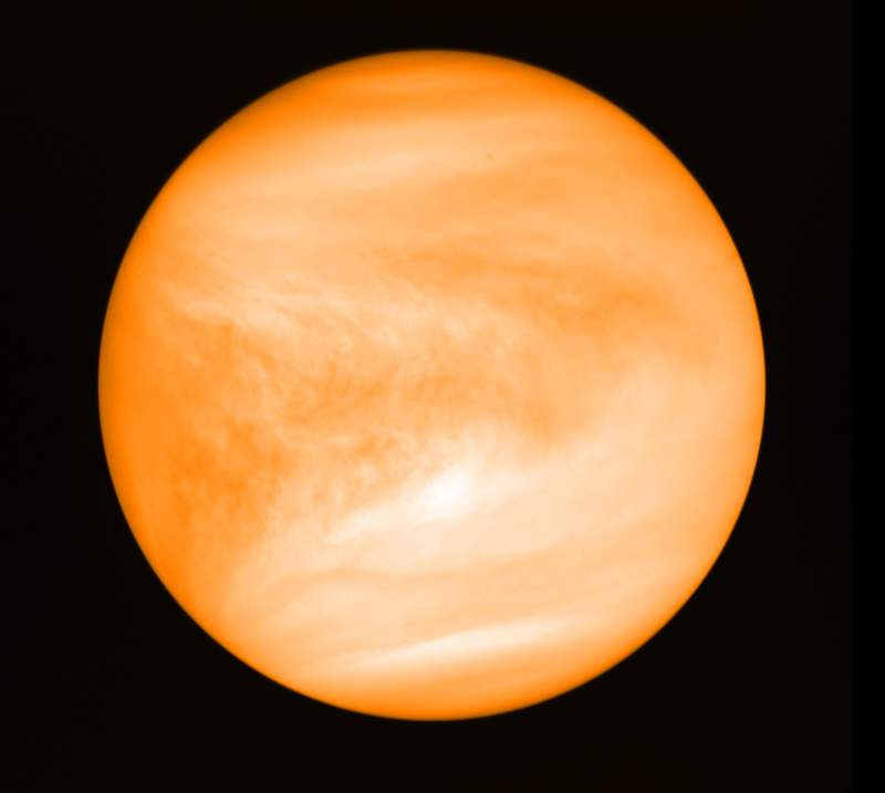 This May 2016 photo provided by researcher Jane Greaves shows the planet Venus, seen from the Japan Aerospace Exploration Agency's Akatsuki probe. A report released on Monday, Sept. 14, 2020 says astronomers have found a potential signal of life high in the atmosphere of our nearest neighboring planet. (J. Greaves/Cardiff University/JAXA via AP)