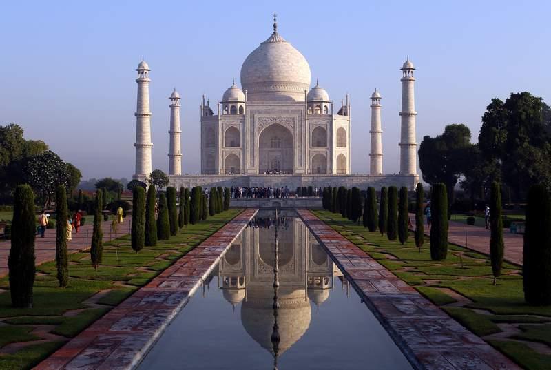 The Taj Mahal is seen in Agra, India.