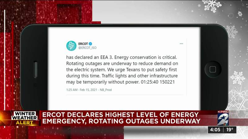 ERCOT declares highest level of energy emergency, rotating outages underway