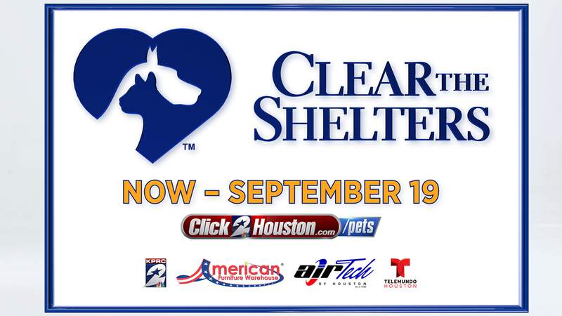 KPRC 2 is proud to once again join NBC and Telemundo's Clear the Shelters initiative and team up with Telemundo Houston and animal shelters in the Houston area to host the seventh annual Clear the Shelters nationwide pet adoption drive from August 23 through September 19