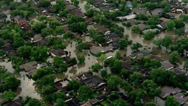 Floodwaters envelope a neighborhood in Houston during the Memorial Day floods of 2015. (File/KPRC)