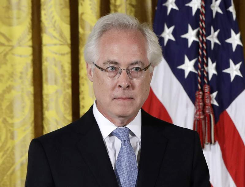 FILE - Author Louis Menand appears at a ceremony honoring him with the 2015 National Humanities Medal in the East Room of the White House in Washington on Sept. 22, 2016.  Menands Cold War cultural history The Free World is among the works on the nonfiction longlist for the National Book Awards. (AP Photo/Carolyn Kaster, File)