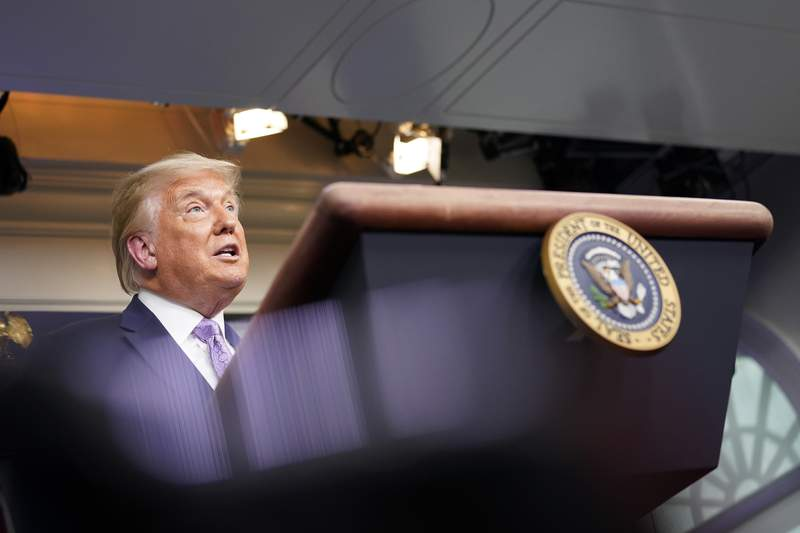 President Donald Trump speaks at a news conference in the James Brady Press Briefing Room at the White House, Thursday, Aug. 13, 2020, in Washington. (AP Photo/Andrew Harnik)