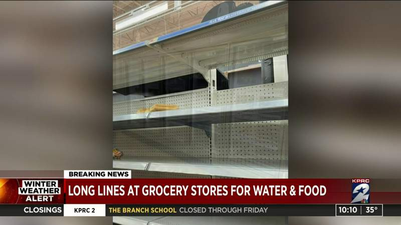 Long lines at grocery stores for water and food