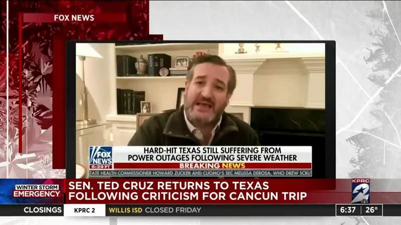 Sen. Ted Cruz returns to Texas following criticism for Cancun trip