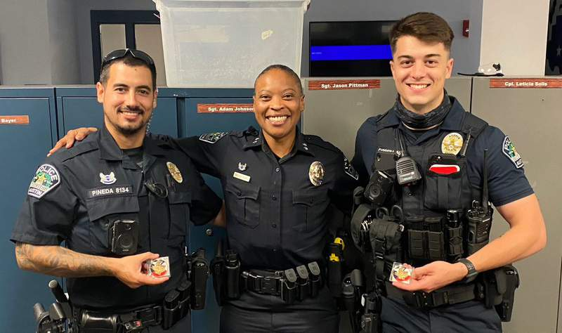 Two Austin police officers Chandler Carrera and Eddie Pineda go viral after saving a man Monday from a burning pickup truck just before it exploded.