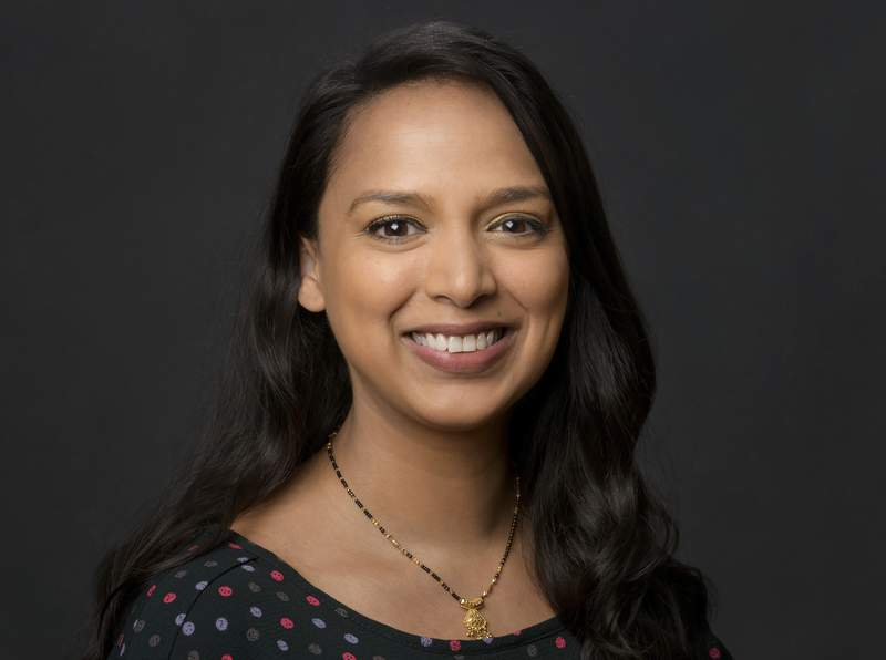 This image released by Conde Nast shows Versha Sharma, newly named editor in chief of Teen Vogue, replacing Alexi McCammond.  (Brandon O'Neal/Conde Nast via AP)