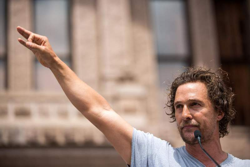 Matthew McConaughey spoke at the March For Our Lives rally in Austin in 2018.                    Credit: Shelby Knowles for The Texas Tribune