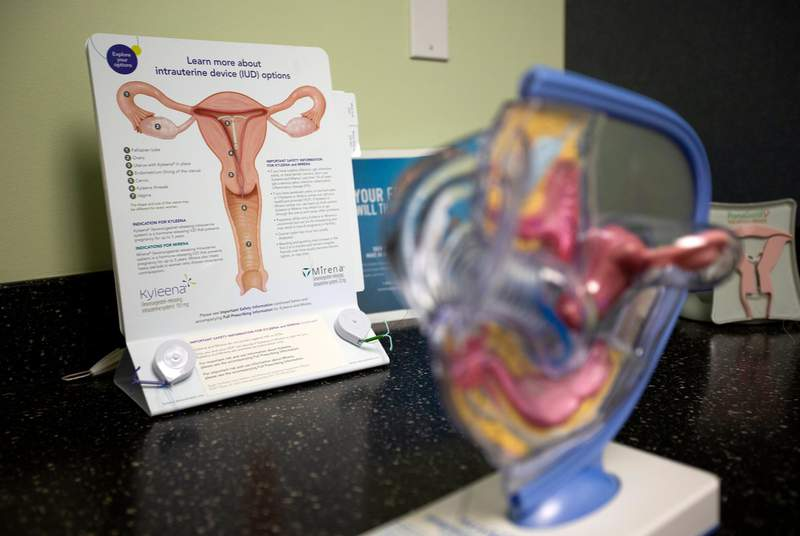 Information and diagrams inside a medical room at a Planned Parenthood in south Austin on Jan. 14, 2020.