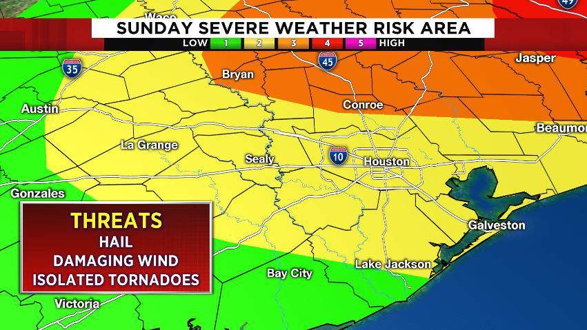 Southeast Texas severe weather risk area for Sunday, April 19, 2020