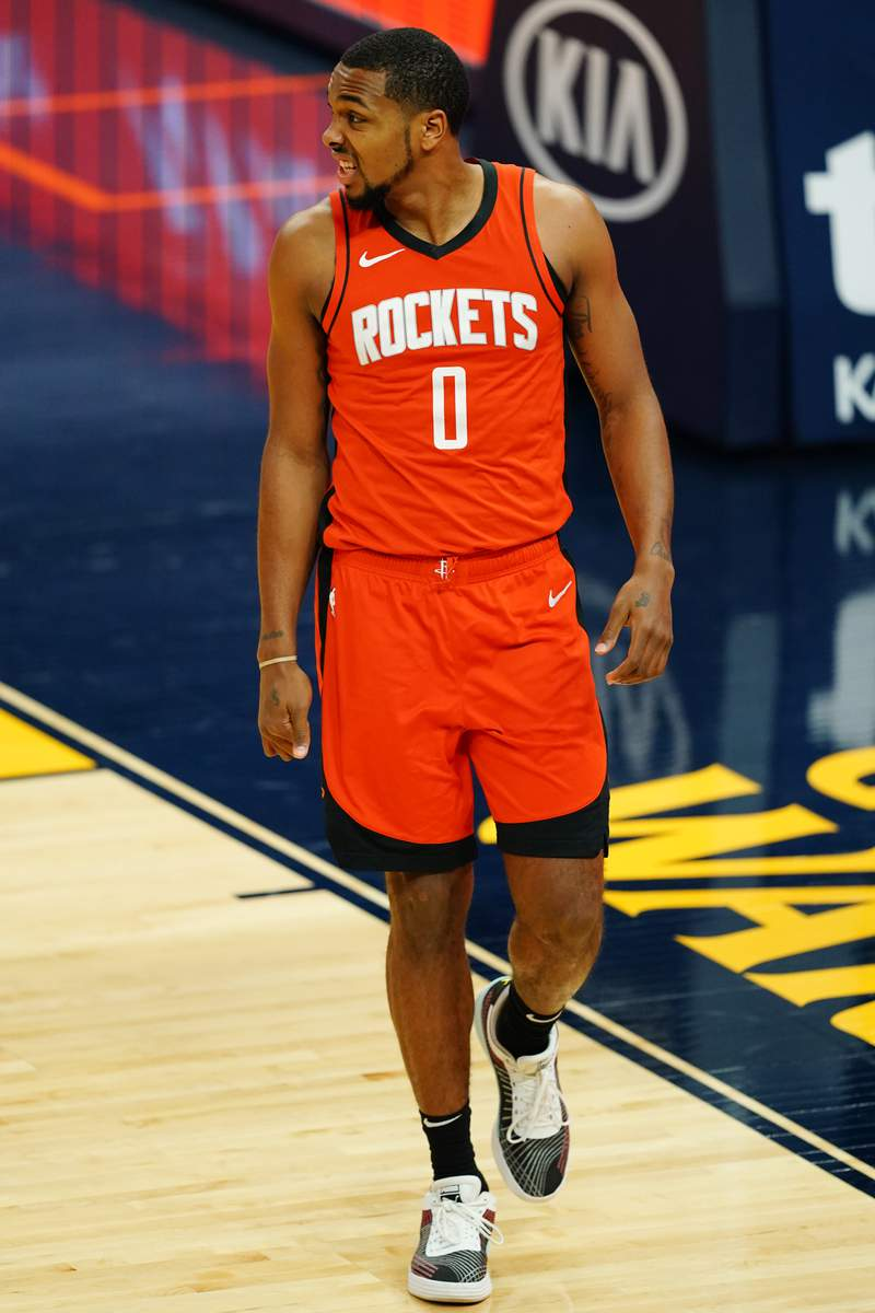 SAN FRANCISCO, CALIFORNIA - APRIL 10: Sterling Brown #0 of the Houston Rockets reacts to a play during the game against the Golden State Warriors at the Chase Center on April 10, 2021 in San Francisco, California. NOTE TO USER: User expressly acknowledges and agrees that, by downloading and or using this photograph, User is consenting to the terms and conditions of the Getty Images License Agreement. (Photo by Daniel Shirey/Getty Images)