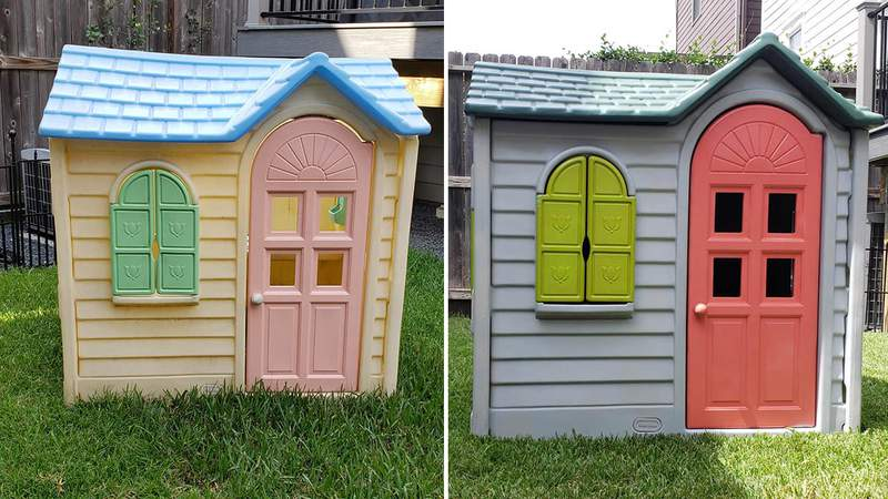 """The """"before"""" and """"after"""" images of Amy Davis' playhouse paint project."""