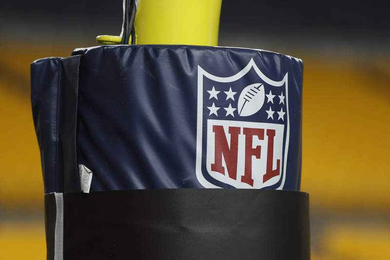 FILE - In this Dec. 15, 2019, file photo, The NFL logo NFL is on the goal post at Heinz Field before an NFL football game between the Pittsburgh Steelers and the Buffalo Bills in Pittsburgh. Disabled Sports USA, with funding from the NFL and the Bob Woodruff Foundation, plans to launch a league in the fall. (AP Photo/Keith Srakocic, File)