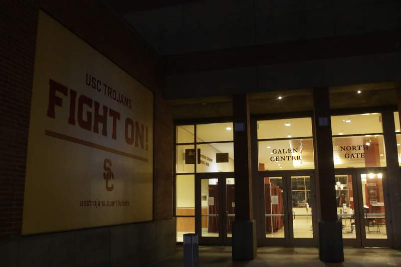 The Galen Arena is closed due to a confirmed case of COVID-19 as the Southern California men's basketball team canceled an NCAA college basketball game against Stanford in Los Angeles, Sunday, Dec. 13, 2020. (AP Photo/Alex Gallardo)