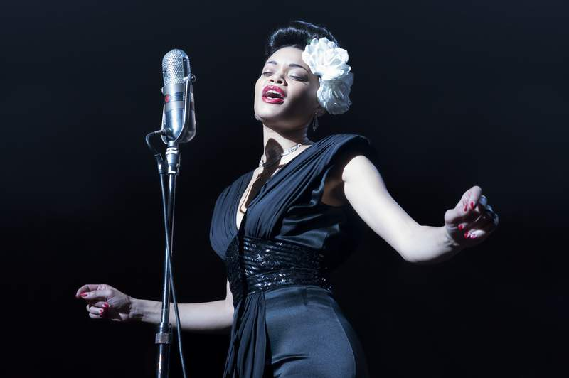 """This image released by Paramount Pictures shows Andra Day in """"The United States vs Billie Holiday.""""  (Takashi Seida/Paramount Pictures via AP)"""