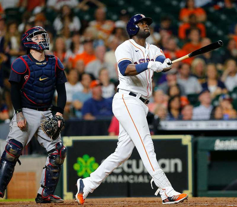 HOUSTON, TEXAS - JULY 19: Yordan Alvarez #44 of the Houston Astros hits a two-run home run in the fifth inning against the Cleveland Indians at Minute Maid Park on July 19, 2021 in Houston, Texas. (Photo by Bob Levey/Getty Images)
