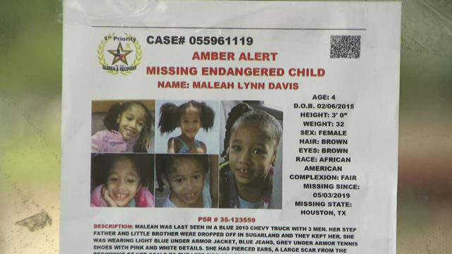 A flyer about Maleah Davis is seen in the window of a Houston shop May 8, 2019.