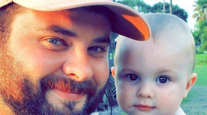Justin Meche and his 1-year-old son Bryson arrived Saturday to an RV resort in south Houston because they had nowhere else to go.
