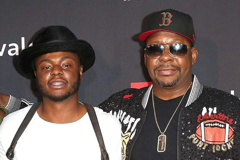 """HOLLYWOOD, CA - AUGUST 29:  (L-R) Landon Brown, Bobby Brown Jr., and Bobby Brown arrive at the premiere screening of """"The Bobby Brown Story"""" presented by BET and Totota at Paramount Theater on the Paramount Studios lot on August 29, 2018 in Hollywood, California.  (Photo by Maury Phillips/Getty Images for BET)"""