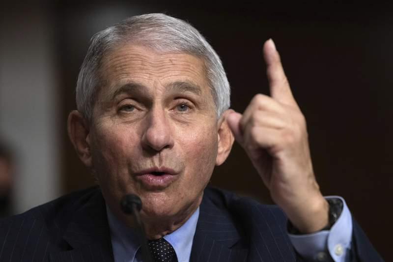 Dr. Anthony Fauci, Director of the National Institute of Allergy and Infectious Diseases at the National Institutes of Health, testifies during a Senate Senate Health, Education, Labor, and Pensions Committee Hearing on the federal government response to COVID-19 on Capitol Hill Wednesday, Sept. 23, 2020, in Washington. (Graeme Jennings/Pool via AP)